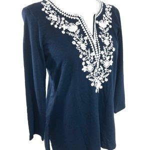 NWOT Talbots Navy Blue Embroidered Tee Shirt Sz P